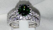 925 STERLING SILVER STIMULATED EMERALD AND DIAMOND ENGAGEMENT/WEDDING BAND USA 6