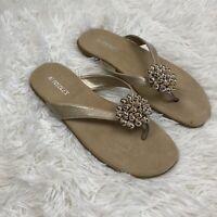 Aerosoles Womens Size 9 Flip Flop Thong Sandal Bronze Tan Beaded Flower Accent