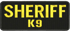 Sheriff K9 embroidery patches 4x10 hook gold