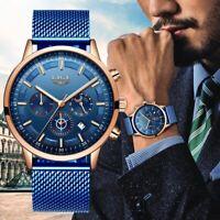 LIGE Uhren Herren Edelstahl Mesh Band Blau Chronograph Quarz Uhr Männer Datum