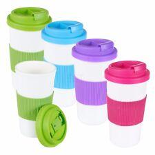 2 x 500ml Double Wall Drinking Cup Warm Coffee Tea Travel Mug Screw On Lid NEW