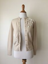 Vintage 1960s Monrose Cream Cardigan with Beads & Sequins XS  (LC1)