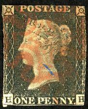 1840 Great Britain Stamp #1, Used 1p black, H,