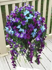 Beautiful Artificial Hanging Basket Blue And Purple