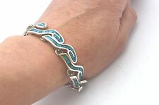 """Stone Inlay Bracelet. 35g,18.5cm, 7.3"""" Taxco Mexican 925 Sterling Silver Tribal"""