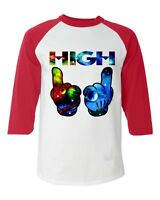 High Cartoon Hands Cosmo Space Galaxy Baseball Raglan T-shirt Stoner Marijuana