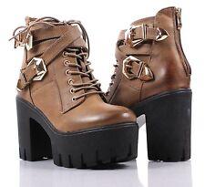 Khaki nn Two Tone Combat Military Lace Up Zipper High Heels Women Boots Size 8