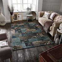 BLUE BEIGE Modern Patchwork Style Affordable Quality Durable Easycare Rug 30%OFF