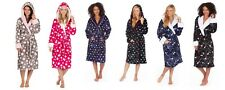 Ladies Womens Deluxe Soft Polka Dot Star Print  Hooded Night Gown Bath Robe