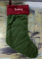 "Pottery Barn Green Red Velvet Holiday Christmas Stocking Monogrammed ""Sadeeq"""
