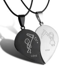 Silver & Black Love You Couple Pendant Necklace Matching Heart  Stainless Steel