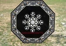 Marble mosaic table top coffee dining center 3' corner semiprecious stone  inlay