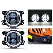 2X 4inch LED Fog Light White Halo Angel Eye Hi-Lo Beam For Jeep Wrangler Compass