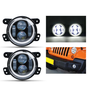 2X 4inch LED Fog Light White Halo Angel Eye Hi-Lo Beam For Jeep Wrangler Compass