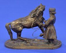 Bronze Figur  Russischer Meister 19. Jhdt. Russe mit Pferd.Russland 1205