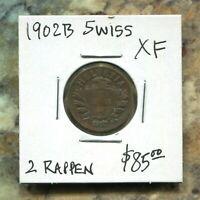 SWITZERLAND - BEAUTIFUL HISTORICAL BRONZE 2 RAPPEN, 1902 B, KM# 4.1