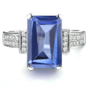 1.90Ct Octagon Shape Natural Royal Blue Tanzanite Solitaire Ring In 925 Silver