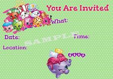 Shopkins Party Invitations with matching envelopes, 12 Pack