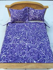 Miniature Dollhouse Bedspread Comforter 2 Pillows 1:12 scale Swirl  violet