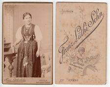 Schweiz Feldle bei St. Gallen,Mädchen in Tracht,Kabinettfoto um 1890