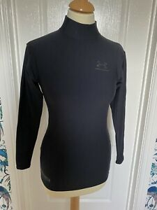 Under Armour Black Cold Gear High Neck Top - Size Small - Very Good Condition