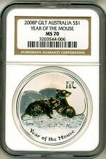 2008 S$1 Australia Gilt Lunar Year Of The Mouse 1 Oz. Silver NGC MS70 Box & COA
