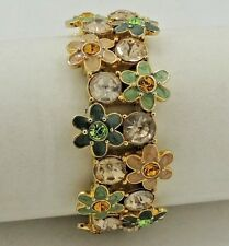 "Pretty Flower Crystal and Enamel Bracelet 1"" Wide Gold Tone"
