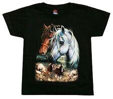 Pferde T-Shirt, Gr. 110*116, Fohlen Pferd Reiter, Indianer Cowboy Western Reiten