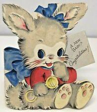 Vintage Hallmark Die Cut Greetings Card New Baby Super Cute Rabbit 1940s