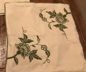 RARE POTTERY BARN Euro Shams Floral Embroidered White/Green Lot Of 2
