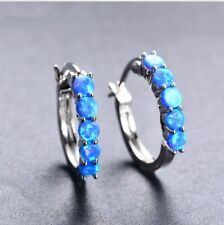 925 Sterling Silver Natural Blue Fire Opal Round Hoop Earrings Pair 5 stone