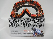 MOTO ADULTS X2 CAMO ORANGE MOTOCROSS ATV ENDURO QUAD BIKE OFF ROAD TRCK GOGGLE