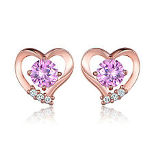 HUCHE Lovely Hollow Rose Gold Filled Heart Pink Sapphire Diamond Girls Earrings