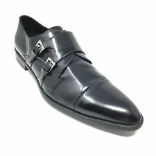 Men's Prada Double Monk Strap Loafers Shoes Size 12 UK/13 M US Black Leather E5