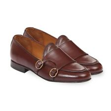 Men brown Double monk Penny Loafer Shoes, Men brown casual leather shoes