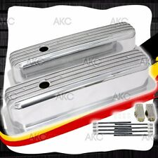 Polished Finned Center Bolt Tall Valve Covers For 87 97 Chevy Sb 50l 57l