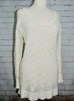 FREE PEOPLE Sweater Tunic Ivory Lace Wool/Cotton Scoop Neck Size M Open Crochet