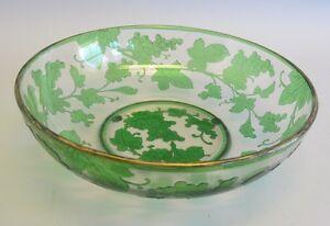 """Fine ANTIQUE FRENCH 10"""" Cameo Glass Center Bowl w/ Grapes c. 1910  Fine Quality"""