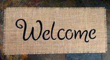Primitive Natural Burlap Welcome Banner Sign Applique Country Wedding Rustic NEW