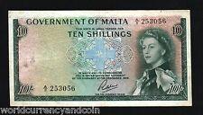 MALTA 10 SHILLING P25 1963 QUEEN EURO SHIP AU- RARE CURRENCY MONEY BILL BANKNOTE