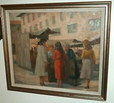 Florence Market Scene-Impressionist Oil Painting-20 x 24 Inch-1952-Rodolfo Marma
