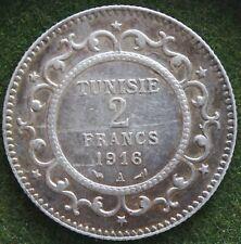 TUNISIE 2 FRANCS 1916 A ARGENT