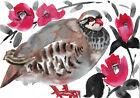 original painting A4 28GD art samovar modern Watercolor flowers bird sketch