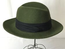 Vtg Men's Hat Olive Green Wool Fedora Safari Panama Trilby Player Small Medium