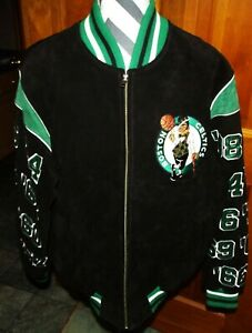 Boston Celtics Leather Suede Jacket 17 Championships 2008 Size Medium