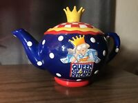 """Vintage Mary Engelbreit """" Queen of the Kitchen"""" Colorful Teapot 1999"""