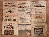 14 BEST 1995 newspapers CLEVELAND INDIANS Baseball Playoffs/ World Series- RARE!