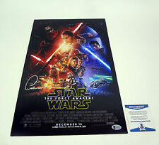 Oscar Isaac Signed Auto Star Wars The Force Awakens Movie Poster Beckett BAS COA