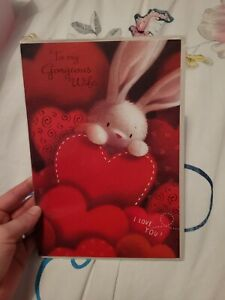 Wife birthday Card - rabbit, hearts