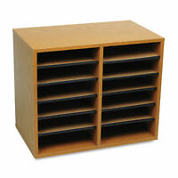 Safco Wood/Fiberboard Literature Sorter 12 Sections 19 5/8 x 11 7/8 x 16 1/8 Oak